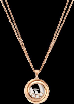 Halskette mit Anhänger Chopard Happy Emotions aus 750 Roségold mit 3 Brillanten (0,3 Karat)