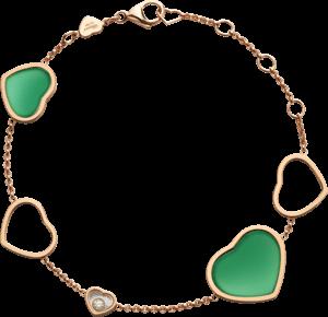 Armband Chopard Happy Hearts aus 750 Roségold mit 1 Brillant (0,05 Karat) und 2 Achaten