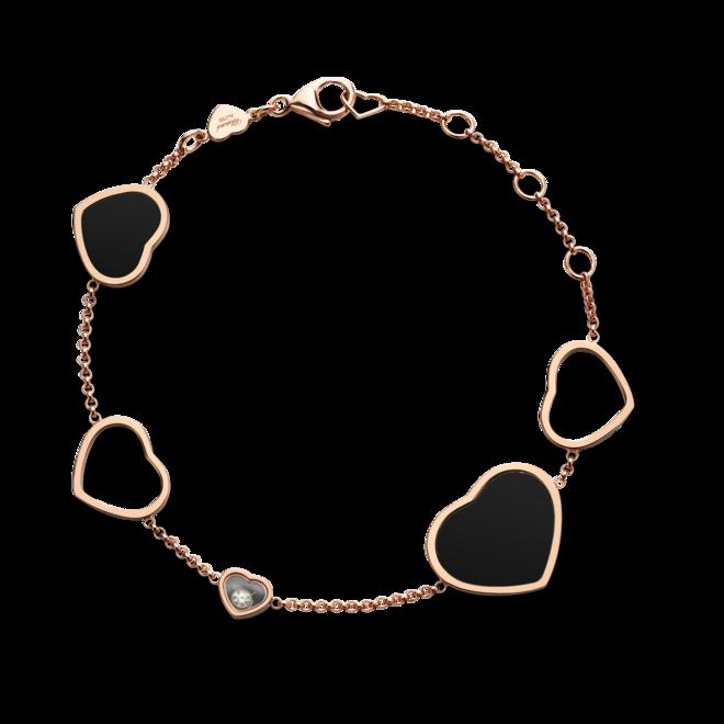 Armband Chopard Happy Hearts aus 750 Roségold mit 1 Brillant (0,05 Karat) und 2 Onyxen