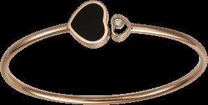 Armspange Chopard Happy Hearts aus 750 Roségold mit 1 Brillant (0,05 Karat) und 1 Onyx Größe M