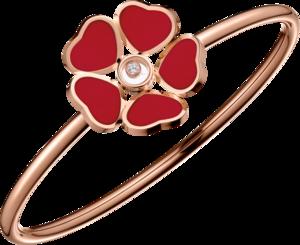 Armreif Chopard Happy Hearts Flowers aus 750 Roségold mit 1 Brillant (0,05 Karat) und 5 Emaillen