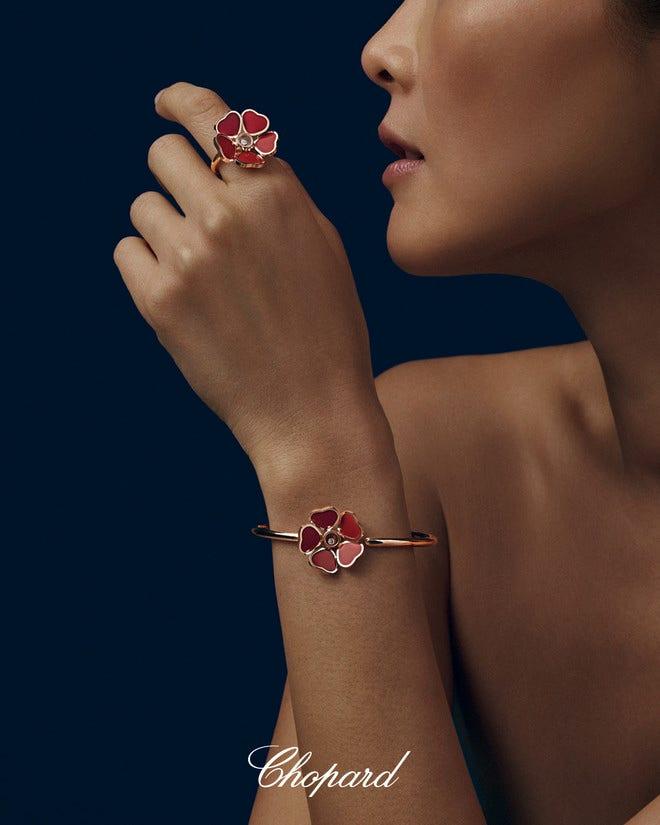 Armreif Chopard Happy Hearts Flowers aus 750 Roségold mit 1 Brillant (0,05 Karat) und 5 Emaillen bei Brogle