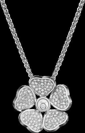 Halskette mit Anhänger Chopard Happy Hearts Flowers aus 750 Weißgold mit mehreren Brillanten (1,01 Karat)