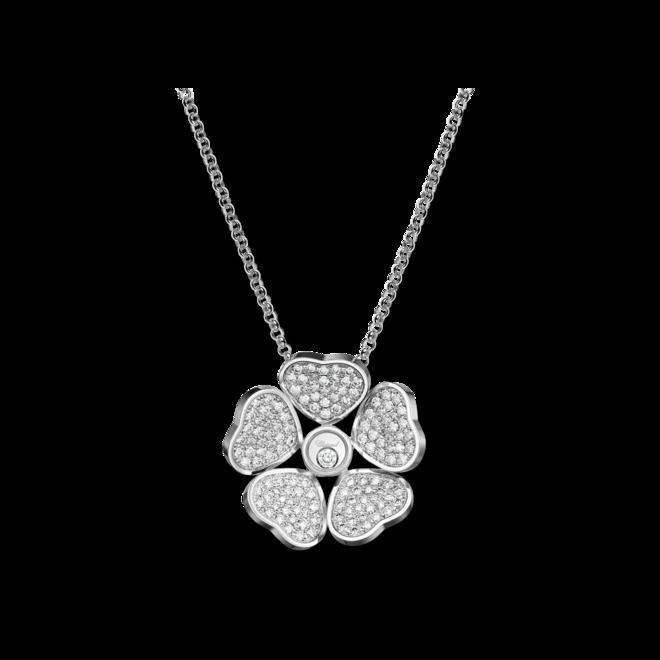 Halskette mit Anhänger Chopard Happy Hearts Flowers aus 750 Weißgold mit mehreren Brillanten (1,01 Karat) bei Brogle