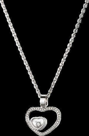 Halskette mit Anhänger Chopard Happy Hearts aus 750 Weißgold mit mehreren Brillanten (0,18 Karat)