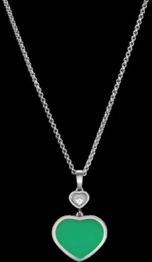 Halskette mit Anhänger Chopard Happy Hearts aus 750 Weißgold mit 1 Brillant (0,05 Karat) und 1 Achat