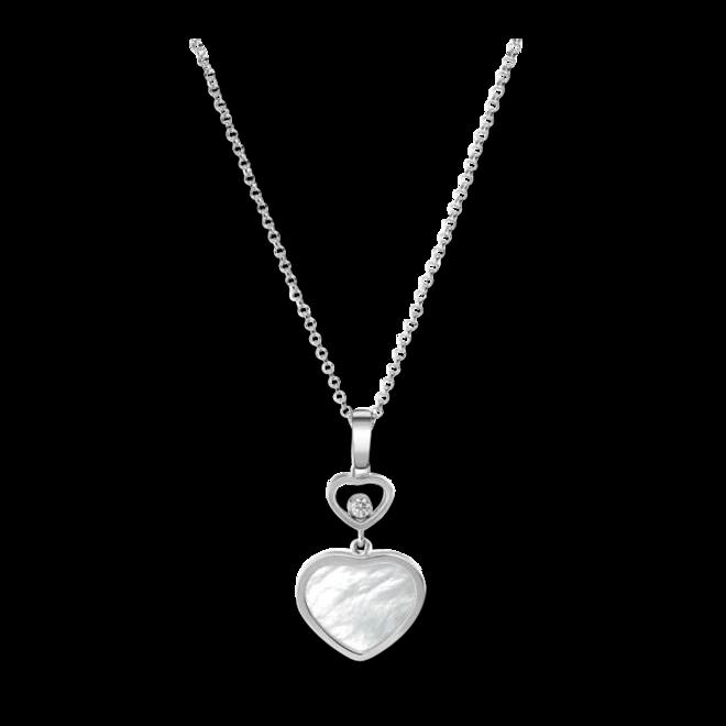 Halskette mit Anhänger Chopard Happy Hearts aus 750 Weißgold mit 1 Brillant (0,05 Karat) und 1 Perlmutt