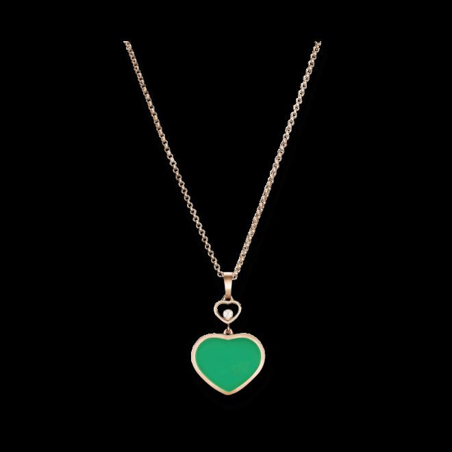 Halskette mit Anhänger Chopard Happy Hearts aus 750 Roségold mit 1 Brillant (0,05 Karat) und 1 Achat