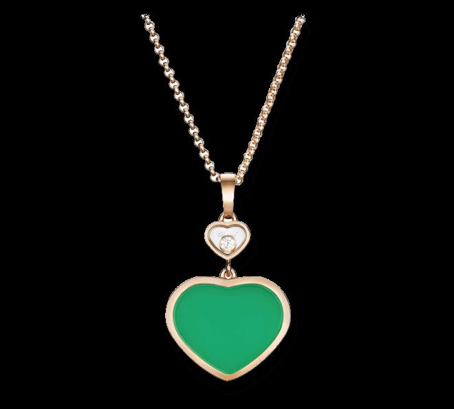 Halskette mit Anhänger Chopard Happy Hearts aus 750 Roségold mit 1 Brillant (0,05 Karat) und 1 Achat bei Brogle