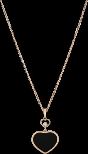 Halskette mit Anhänger Chopard Happy Hearts aus 750 Roségold mit 1 Brillant (0,05 Karat) und 1 Onyx