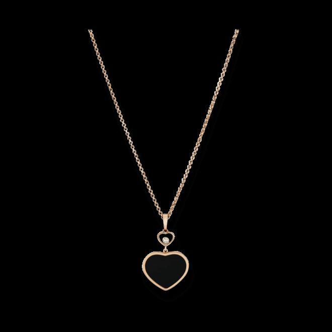 Halskette mit Anhänger Chopard Happy Hearts aus 750 Roségold mit 1 Brillant (0,05 Karat) und 1 Onyx bei Brogle
