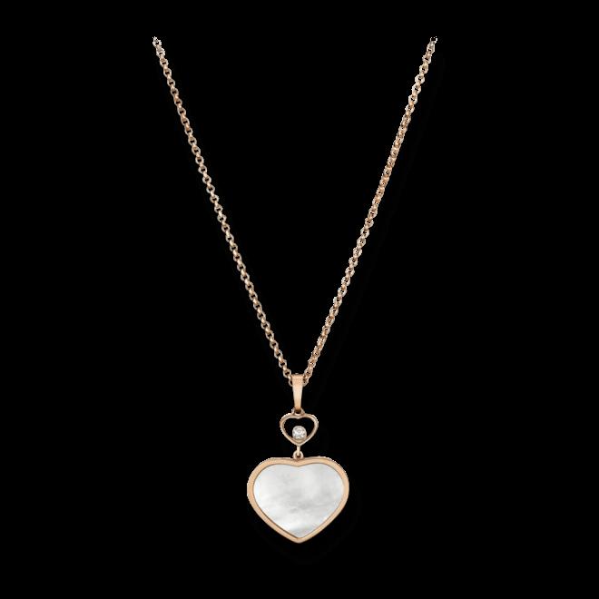 Halskette mit Anhänger Chopard Happy Hearts aus 750 Roségold mit 1 Brillant (0,05 Karat) und 1 Perlmutt bei Brogle