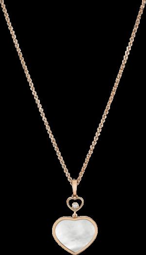 Halskette mit Anhänger Chopard Happy Hearts aus 750 Roségold mit 1 Brillant (0,05 Karat) und 1 Perlmutt