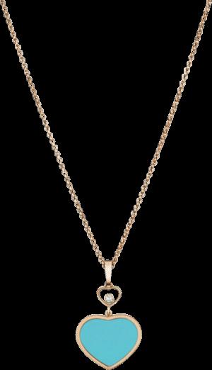 Halskette mit Anhänger Chopard Happy Hearts aus 750 Roségold mit 1 Brillant (0,05 Karat) und 1 rekonstruiertem Türkis
