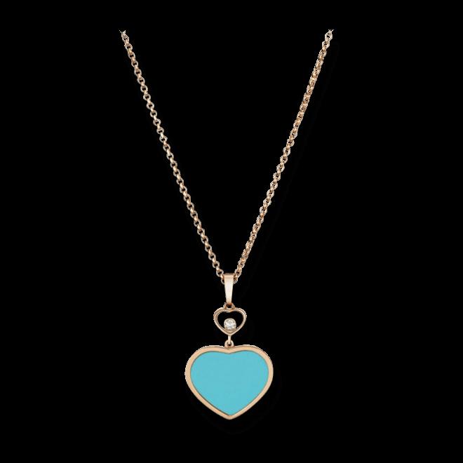 Halskette mit Anhänger Chopard Happy Hearts aus 750 Roségold mit 1 Brillant (0,05 Karat) und 1 rekonstruiertem Türkis bei Brogle
