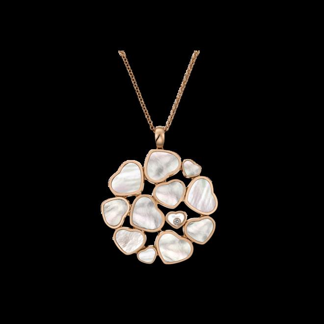 Halskette mit Anhänger Chopard Happy Hearts aus 750 Roségold mit 1 Brillant (0,05 Karat) und 11 Perlmutt bei Brogle