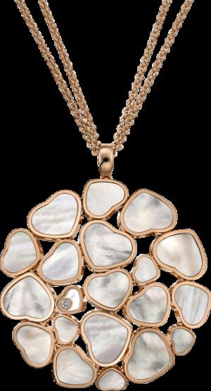Halskette mit Anhänger Chopard Happy Hearts aus 750 Roségold mit 1 Brillant (0,05 Karat) und 19 Perlmutt