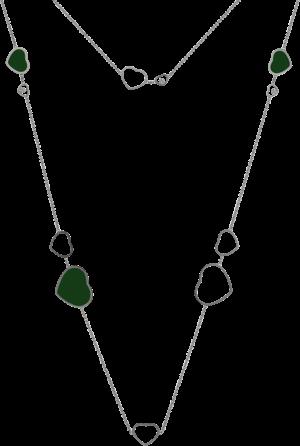 Halskette mit Anhänger Chopard Happy Hearts aus 750 Weißgold mit 3 Brillanten (0,15 Karat) und mehreren Achaten