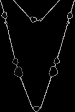 Halskette mit Anhänger Chopard Happy Hearts aus 750 Weißgold mit 3 Brillanten (0,15 Karat) und mehreren Onyxen