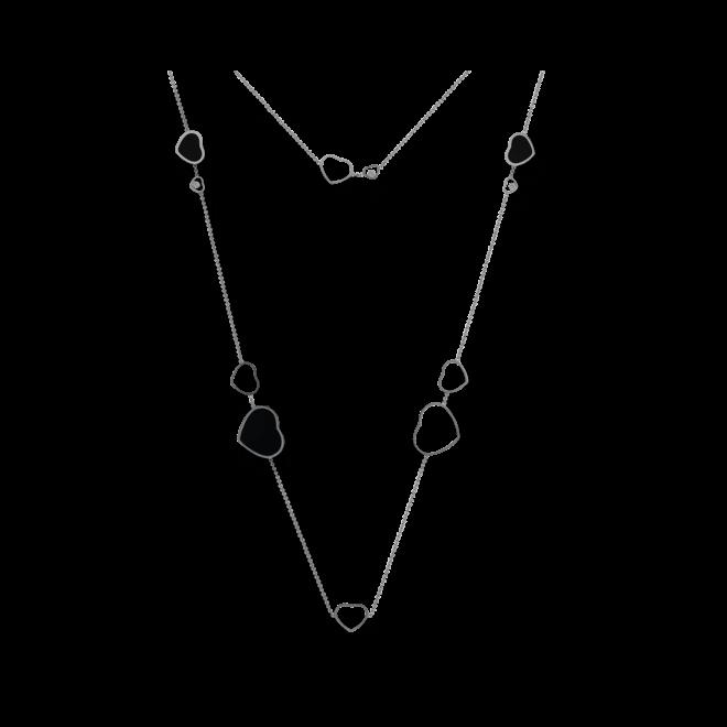 Halskette mit Anhänger Chopard Happy Hearts aus 750 Weißgold mit 3 Brillanten (0,15 Karat) und mehreren Onyxen bei Brogle