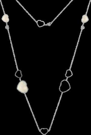 Halskette mit Anhänger Chopard Happy Hearts aus 750 Weißgold und Perlmutt mit 3 Brillanten (0,15 Karat)