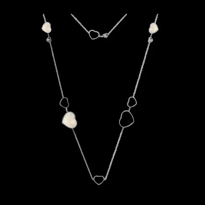 Halskette mit Anhänger Chopard Happy Hearts aus 750 Weißgold und Perlmutt mit 3 Brillanten (0,15 Karat) bei Brogle