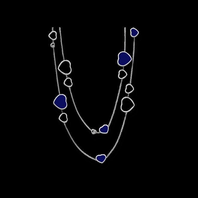 Halskette mit Anhänger Chopard Happy Hearts aus 750 Weißgold mit 3 Brillanten (0,15 Karat) und mehreren Emaillen bei Brogle