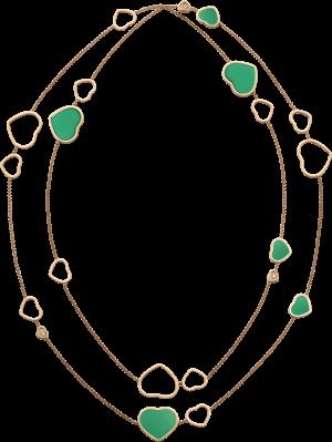 Halskette mit Anhänger Chopard Happy Hearts aus 750 Roségold mit 3 Brillanten (0,15 Karat) und mehreren Achaten