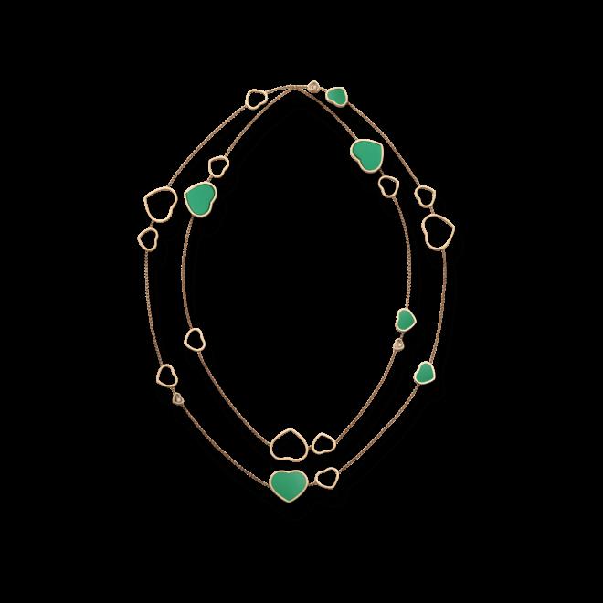 Halskette mit Anhänger Chopard Happy Hearts aus 750 Roségold mit 3 Brillanten (0,15 Karat) und mehreren Achaten bei Brogle