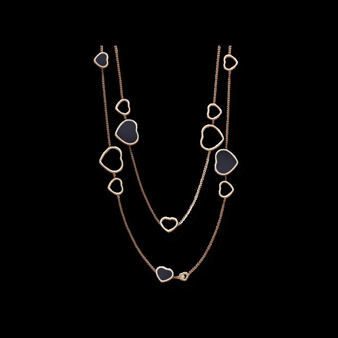 Halskette mit Anhänger Chopard Happy Hearts aus 750 Roségold mit 3 Brillanten (0,15 Karat) und mehreren Onyxen