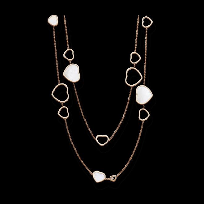 Halskette mit Anhänger Chopard Happy Hearts aus 750 Roségold und Perlmutt mit 3 Brillanten (0,15 Karat) bei Brogle