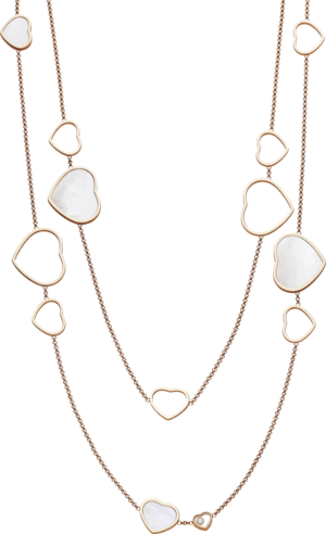 Halskette mit Anhänger Chopard Happy Hearts aus 750 Roségold und Perlmutt mit 3 Brillanten (0,15 Karat)