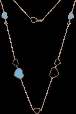Halskette mit Anhänger Chopard Happy Hearts aus 750 Roségold mit 3 Brillanten (0,15 Karat) und mehreren rekonstruierten Türkisen