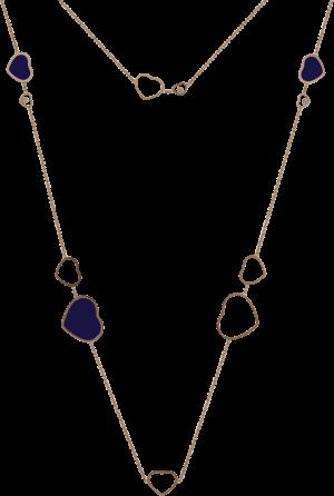 Halskette mit Anhänger Chopard Happy Hearts aus 750 Roségold mit 3 Brillanten (0,15 Karat) und mehreren Emaillen