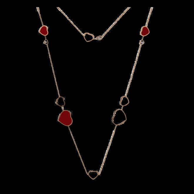Halskette mit Anhänger Chopard Happy Hearts aus 750 Roségold mit 3 Brillanten (0,15 Karat) und mehreren Emaillen bei Brogle