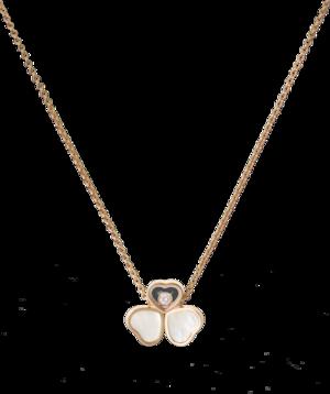 Halskette mit Anhänger Chopard Happy Hearts aus 750 Roségold mit 1 Brillant (0,05 Karat) und 2 Perlmutt