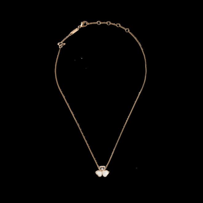 Halskette mit Anhänger Chopard Happy Hearts aus 750 Roségold mit 1 Brillant (0,05 Karat) und 2 Perlmutt bei Brogle