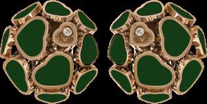Ohrclip Chopard Happy Hearts aus 750 Roségold mit 2 Brillanten (2 x 0,04 Karat) und mehreren Achaten
