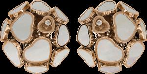 Ohrclip Chopard Happy Hearts aus 750 Roségold und Perlmutt mit 2 Brillanten (2 x 0,04 Karat)