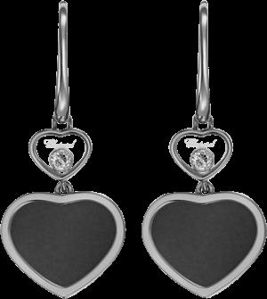 Ohrhänger Chopard Happy Hearts aus 750 Weißgold mit 2 Brillanten (2 x 0,05 Karat) und 2 Onyxen