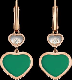 Ohrhänger Chopard Happy Hearts aus 750 Roségold mit 2 Brillanten (2 x 0,05 Karat) und 2 Achaten