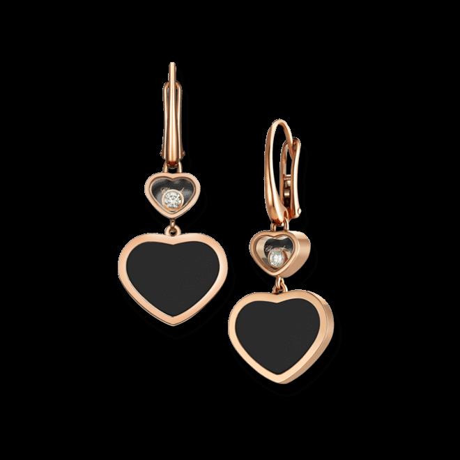 Ohrhänger Chopard Happy Hearts aus 750 Roségold mit 2 Brillanten (2 x 0,05 Karat) und 2 Onyxen