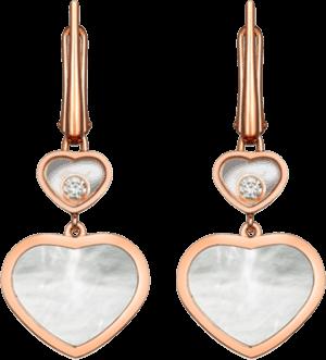 Ohrhänger Chopard Happy Hearts aus 750 Roségold und Perlmutt mit 2 Brillanten (2 x 0,05 Karat)
