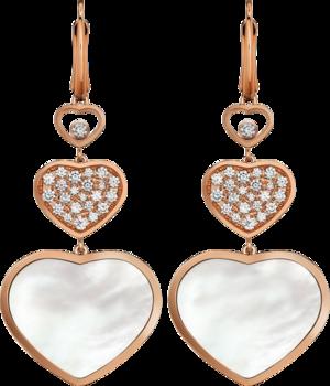 Ohrhänger Chopard Happy Hearts aus 750 Roségold und Perlmutt mit 46 Brillanten (2 x 0,45 Karat)