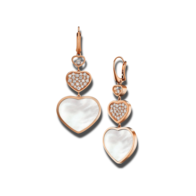 Ohrhänger Chopard Happy Hearts aus 750 Roségold und Perlmutt mit 46 Brillanten (2 x 0,45 Karat) bei Brogle