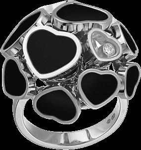 Ring Chopard Happy Hearts aus 750 Weißgold mit 1 Brillant (0,04 Karat) und mehreren Onyxen