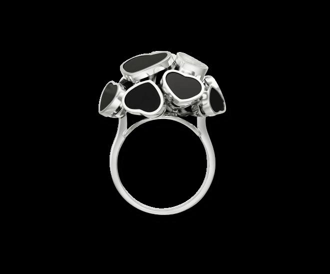 Ring Chopard Happy Hearts aus 750 Weißgold mit 1 Brillant (0,04 Karat) und mehreren Onyxen bei Brogle