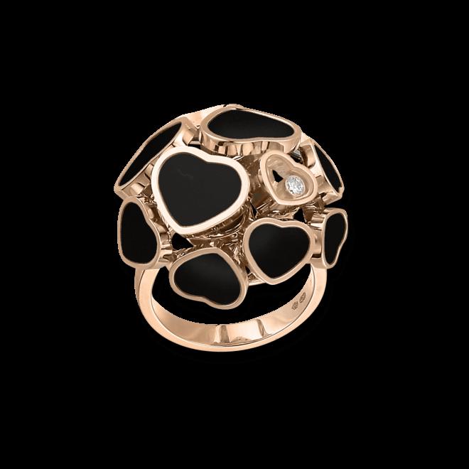 Ring Chopard Happy Hearts aus 750 Roségold mit 1 Brillant (0,04 Karat) und mehreren Onyxen