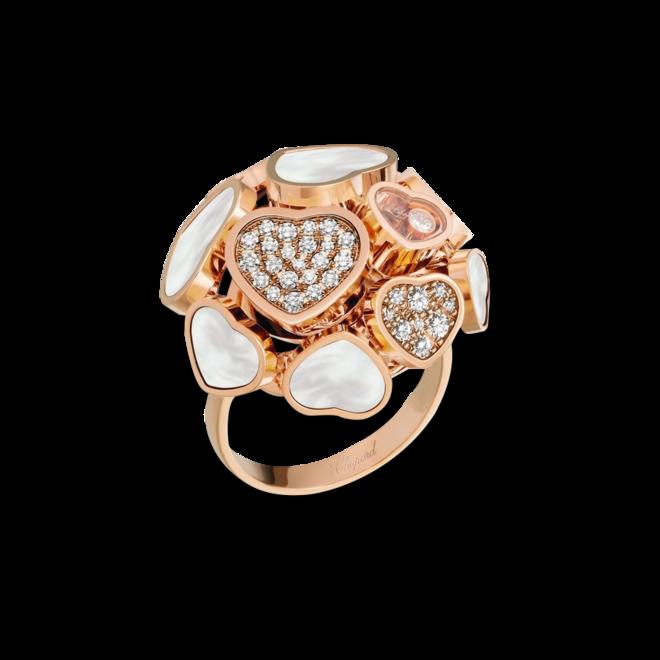 Ring Chopard Happy Hearts aus 750 Roségold mit 47 Brillanten (0,56 Karat) und Perlmutt bei Brogle
