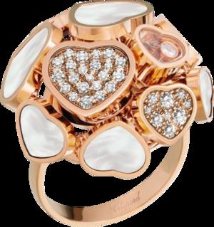 Ring Chopard Happy Hearts aus 750 Roségold mit 47 Brillanten (0,56 Karat) und Perlmutt